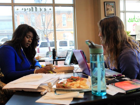 Graduate students studying in a coffee shop