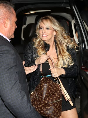 Stormy Daniels arrives to perform at the Solid Gold Fort Lauderdale strip club in early March.