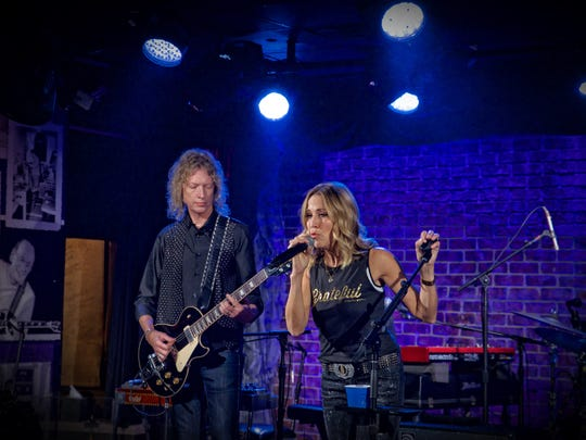 "Sheryl Crow, pictured at the Iridium in New York City for a taping of ""Front and Center"" on Sept. 6."