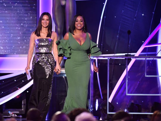 "Olivia Munn, left, and Niecy Nash were assigned the ""white guys and Sterling K. Brown"" category, i.e., male actor in a drama series."