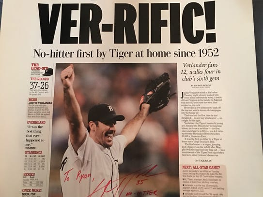 Both Justin Verlander and his dad Richard signed this