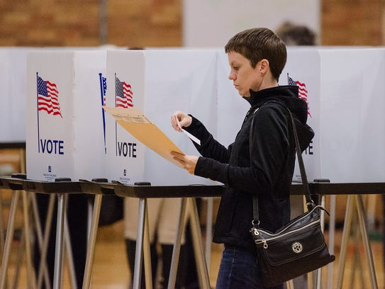 Allison Wright votes at precinct 11, located at Hilbert