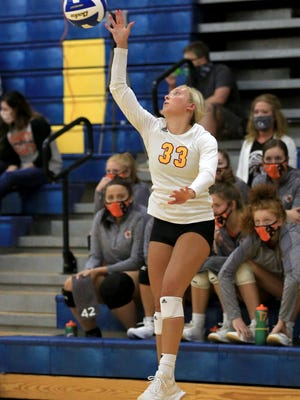Hays' Brooklyn Schaffer (33) was a second-team selection on the All-WAC volleyball team.