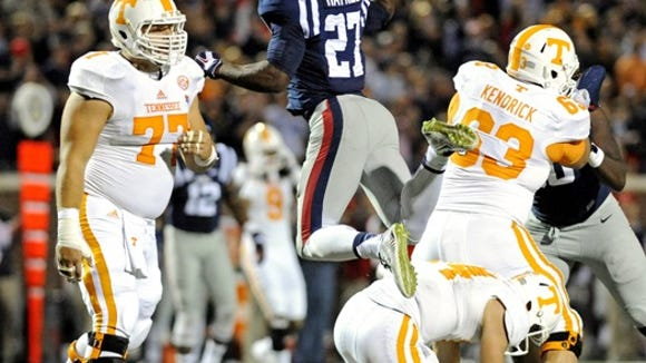 Ole Miss defensive end Marquis Haynes reacts to a sack against Tennessee on Saturday.