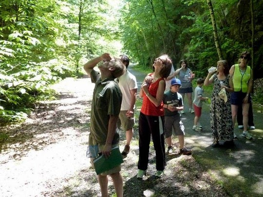 A group participates in a nature walk on the Hudson Valley Rail Trail.