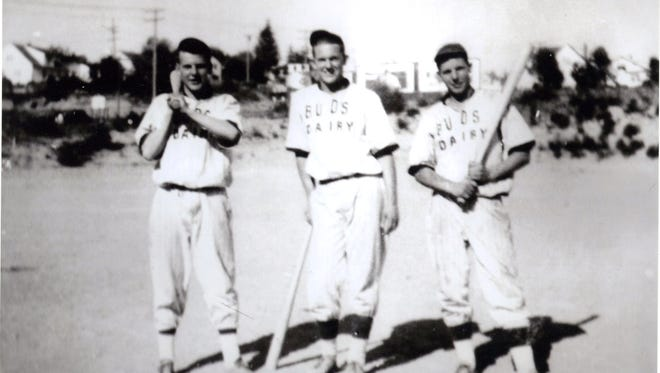 Shown, circa 1940, are noted Bremerton athletes, John Jarstad (far left) and Glenn Jarstad (far right). The brothers were involved in everything that had to do with sports. As teenagers, they also helped broadcast sports events on local radio station KBRO  John would go on to host a hunting and fishing TV program. Glenn served four terms as Bremerton mayor. To see more photos from the Kitsap County Historical Society Museum archives, visit facebook.com/kitsaphistory, kitsapmuseum.org, or stop by the museum at 280 Fourth Street in Bremerton. Call 360-479-6226 for information.