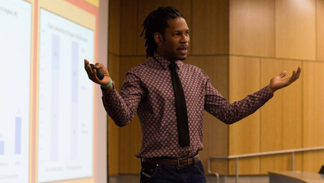 LZ Granderson speaks on the importance of going to vote for your leaders at Western Michigan University on Wednesday.