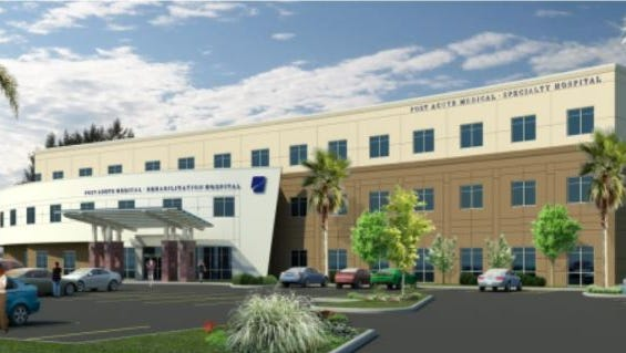 Rendering of Post Acute Medical Hospital's planned downtown facility.