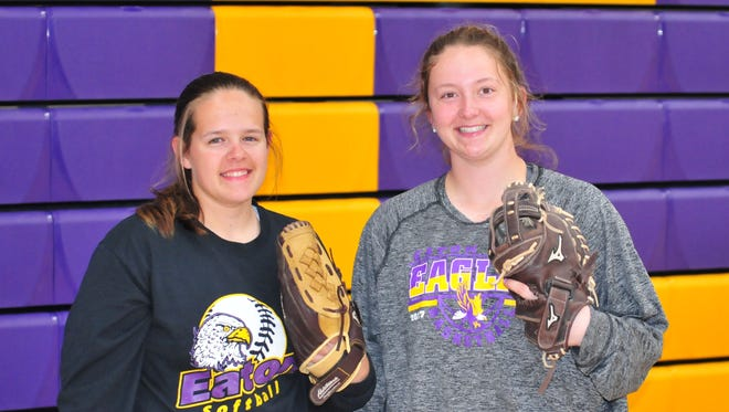 Junior pitcher Annika Gels, left, and catcher Becca Mowen, returned after helping Eaton's softball team win a sectional title in 2017.