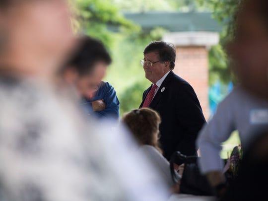 Gubernatorial candidate Craig Fitzhugh mingles at Victor Ashe Park on June 28, 2018.