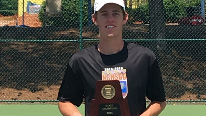 Brevard junior Joseph Schrader won the NCHSAA 2-A tennis championship Saturday in Apex.