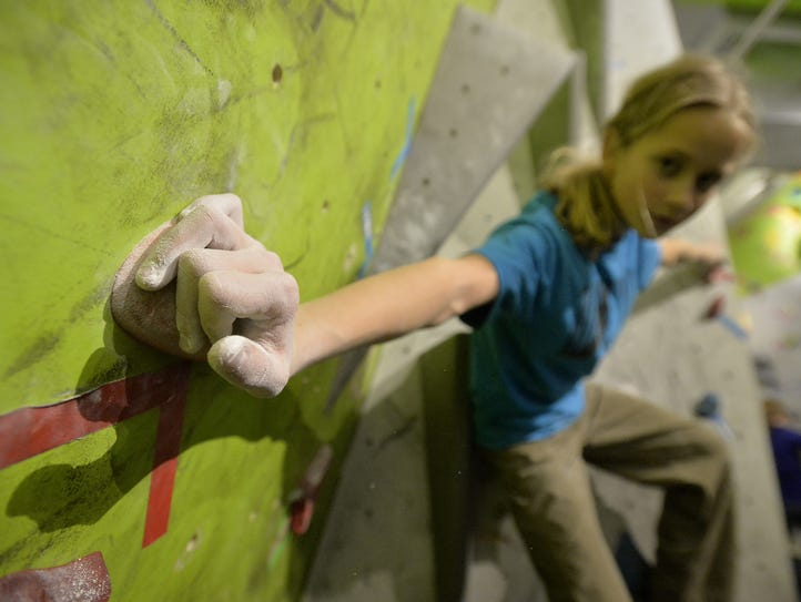 Layla Kerr climbs during the Hiline Climbing Team's