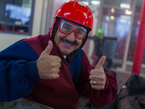 Mark Curtis is ready to do indoor skydiving in Eloy,