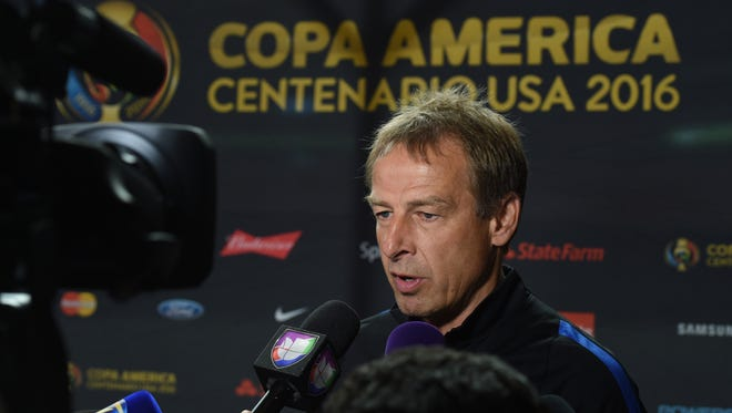 U.S. coach Jurgen Klinsmann speaks to the media at the University of Phoenix Stadium in Glendale on June 23, 2016, in advance of the Copa America third-place game.