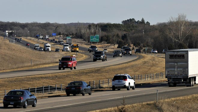 Afternoon traffic builds in the west and eastbound lanes of Interstate Highway 94 near Hasty in 2012.