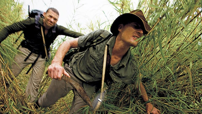 (L-R) Kevin Sites and Benedict Allen in a 2009 photo for a History Channel explorer series, 'Expedition Africa: Stanley and Livingstone.' The eight-part series followed four adventurers as they retraced journalist Henry Stanley's 19th century search in Africa for missing explorer David Livingstone.
