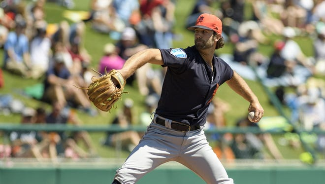 Detroit Tigers pitcher Daniel Norris delivers in the first inning against the Atlanta Braves on Friday, March 23, 2018, at Champion Stadium in Lake Buena Vista, Fla.