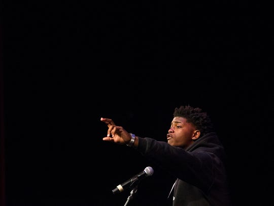 Contestant Kemuel Harding of Early College High School performs during the 2018 Dr. Martin Luther King Jr. Communication Contest Sunday at the Baby Grand in Wilmington. Harding placed first in the contest.