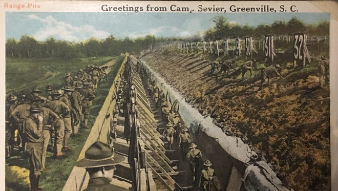 A postcard offers greetings from Greenville's Camp Sevier, where 100,000 men trained for World War I.