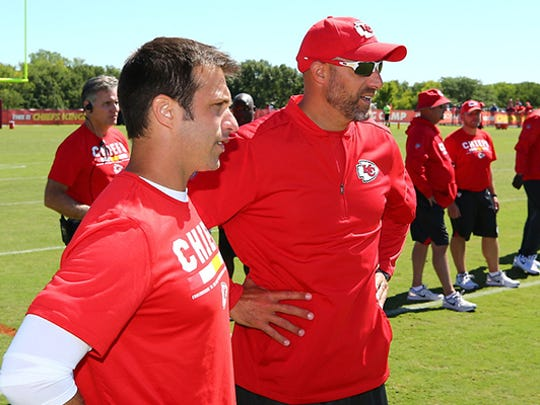 Matt Nagy (right) with former University of Delaware teammate Brett Veach, the Chiefs' general manager.