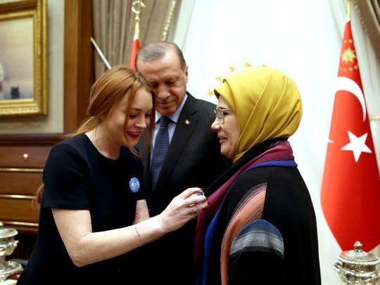 Lindsay Lohan with Turkey's President Recep Tayyip