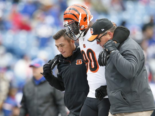 Bengals defensive end Michael Johnson is helped off