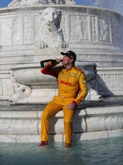 Ryan Hunter-Reay celebrates in Scott Fountain after winning the Detroit Grand Prix on Sunday, June 3, 2018, on Belle Isle.