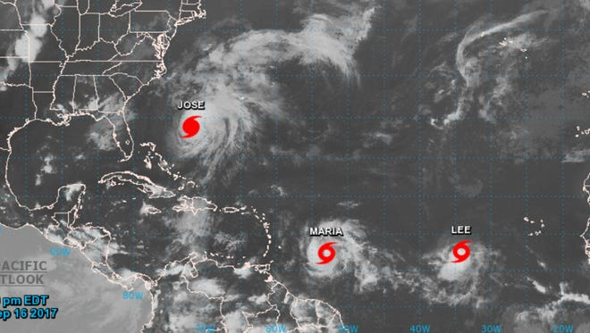 This 8 p.m. graphic shows the location of Hurricane Jose and Tropical Storms Maria and Lee.