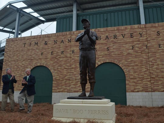 A statue of Boo Ferriss stands outside Ferriss Field at Delta State.