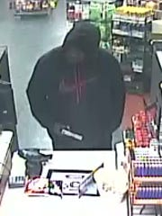 Surveillance video from a reported robbery a Thorton's gas station on North Bend Road in Mount Airy.
