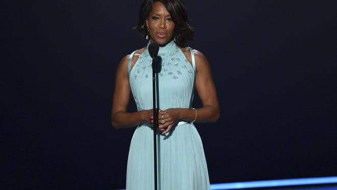 """Regina King speaks at the 2019  Primetime Emmy Awards. King has won Emmys for her work on ABC's """"American Crime,"""" and Netflix's """"Seven Seconds,"""" and is nominated this year for HBO's """"Watchmen."""""""