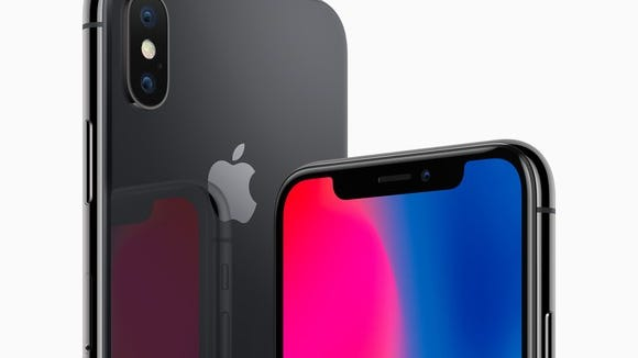 Apple's iPhone X. Back side of the phone on the left, front side of the phone on the right.