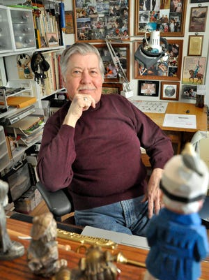 Wayne Wm. Peterson, shown in his studio in Muskego, has been confused over the years with Wayne R. Peterson, who also was a commercial artist. The two men also were in the same National Guard unit and had serious lung diseases.