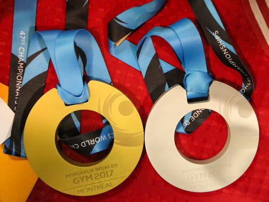Morgan Hurd's two medals - gold for the all-around