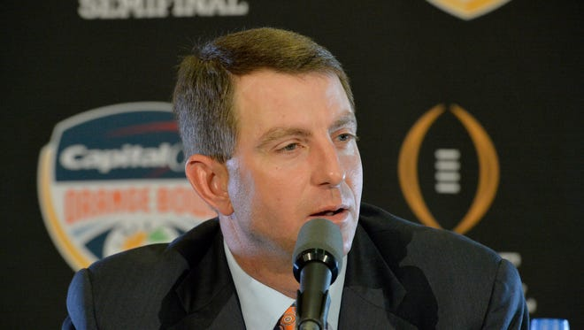 Clemson head coach Dabo Swinney answers questions during an Orange Bowl press conference Wednesday, December 30, 2015 in Ft. Lauderdale, Fla.
