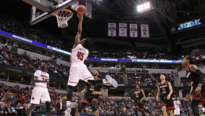 Donovan Mitchell goes for two of his nine points in the second half as Louisville beat Jacksonville State in the first round Friday afternoon. Mitchell also had 10 rebounds and five assists with three steals.