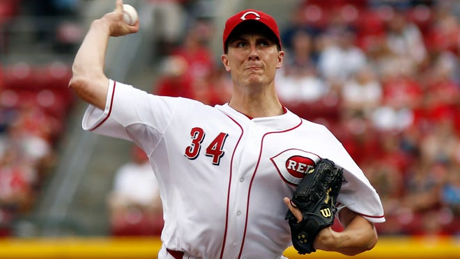 Cincinnati Reds starting pitcher Homer Bailey throws a pitch against the Cleveland Indians in the first inning at Great American Ball Park.