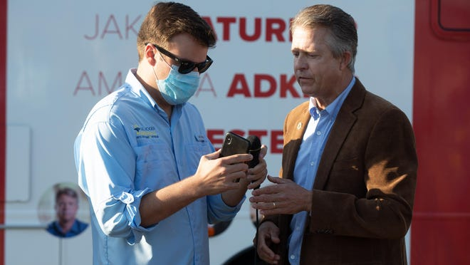U.S. Rep. Roger Marshall appears during a bus stop tour in Topeka on Oct. 6. A staffer who joined Marshall on the statewide bus tour tested positive for the coronavirus last week, the campaign said Tuesday.