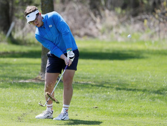 Notre Dame's Max Pallini hits from the fairway at the