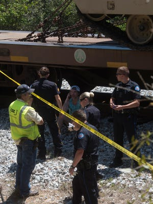 The Pensacola Police Department are on scene investigating a person vs. train accident at the Bluffs Park on Scenic Hwy Monday, April 30, 2018.