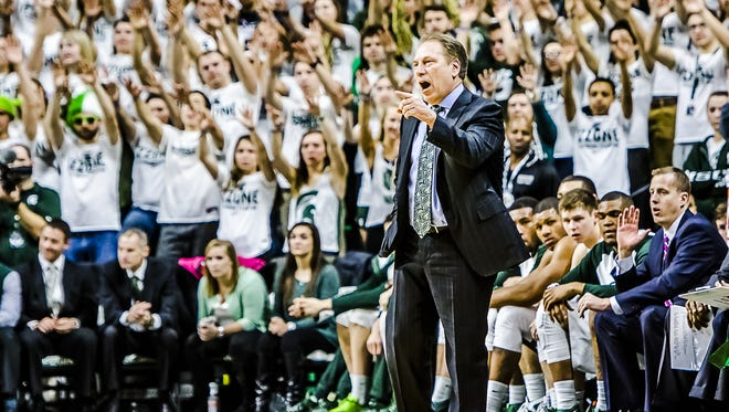 MSU Men's Basketball Head Coach Tom Izzo yells instructions to his team during their game with Penn State Sunday February 28, 2016 in East Lansing.  KEVIN W. FOWLER PHOTO