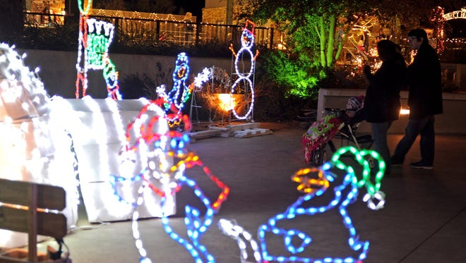 Penguins beckon from Electricritters. The holiday light display at River Bend Nature Center will be open from 6:30 p.m. to 8:30 p.m. Dec. 23. It will feature cocoa, apple cider, warm cookies and more than 150 illuminated displays.