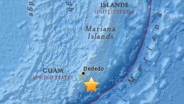 A magnitude 4.9 earthquake shook Guam at 10:12 a.m. Sunday, according to the U.S. Geological Survey.