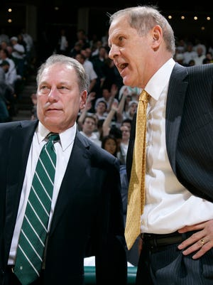 Michigan State coach Tom Izzo, left, and Michigan coach John Beilein are two of the nine coaches participating in the fund-raiser.