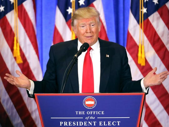 President-elect Donald Trump speaks at his Jan. 11,