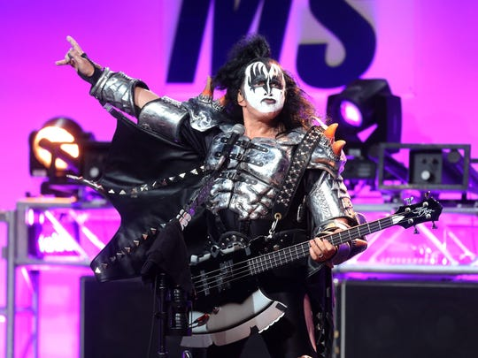 Gene Simmons of KISS performs during the 23rd annual Race to Erase MS Gala at the Beverly Hilton Hotel on April 15, 2016, in Beverly Hills, Calif.