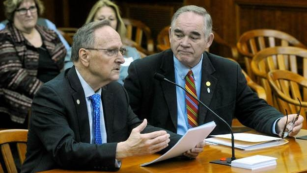 State Rep. Hank Vaupel, left, testifies before the House Elections and Ethics Committee regarding legislation he introduced to remove party vignettes from election ballots. Rep. Edward Canfield of Sebewaing also is pictured.