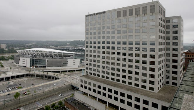 A view from the roof of The Reserve at 4th and Race downtown. This is looking southwest showing Paul Brown Stadium and The Enquirer building at 312 Elm Street.