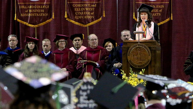 Megan Piehler, commencement speaker and graduating Midwestern State University senior, speaks to her fellow classmates during the Spring 2017 MSU commencement recently at Kay Yeager Coliseum.