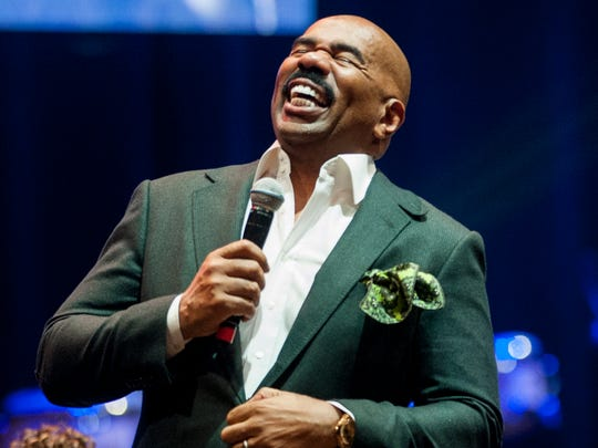 Steve Harvey does a live broadcast at the Alabama State